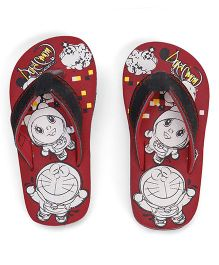 Doraemon Printed Flip Flops - Red Black