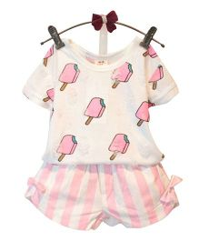 Lil Mantra Top And Shorts Set - White & Pink