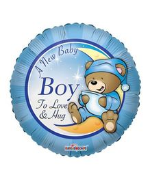 Party In A Box Kaleidoscope New Baby Boy Print Balloon - Blue