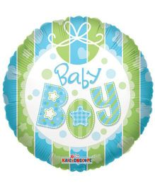 Party In A Box Kaleidoscope Baby Boy Bib Balloon - Green And Blue