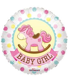 Party In A Box Kaleidoscope Baby Girl Rocking Horse Print Balloon - Pink
