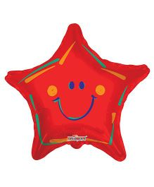 Party In A Box Kaleidoscope Smiley Star Shape Balloon - Red