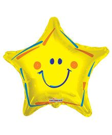 Party In A Box Kaleidoscope Smiley Star Shape Balloon - Yellow