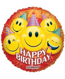 Party In A Box Kaleidoscope Party Smiley Birthday Balloon- Red And Yellow