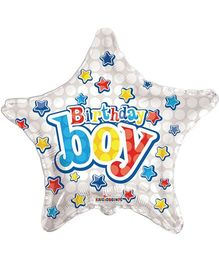 Party In A Box Kaleidoscope Birthday Boy Star Shaped Balloon - White
