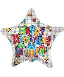 Party In A Box Kaleidoscope Happy Birthday Dots Print Star Shaped Balloon - White