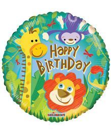 Party In A Box Kaleidoscope Birthday Jungle Print Balloon - Multicolor