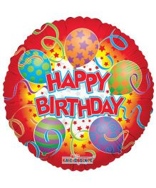 Party In A Box Kaleidoscope Happy Birthday Printed Balloon - Red