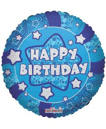 Party In A Box Kaleidoscope Holographic Happy Birthday Prismatic Balloon - Blue