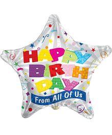 Party In A Box Kaleidoscope Star Shape Birthday Balloon - Silver