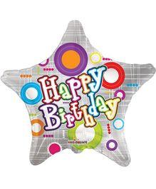 Party In A Box Kaleidoscope Birthday Balloon With Neon Color Circles Print - Balloon