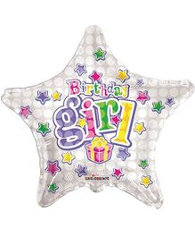 Party In A Box Kaleidoscope Birthday Girl Star Shape Balloon - Silver