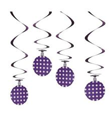 Party In A Box Polka Swirl Decorations - Purple