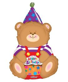 Party In A Box Birthday Bear Shape Balloon - Brown