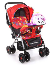 Baby Stroller Cum Pram With Bunny Play Tray & Checkered Seat - Red
