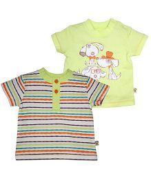 FS Mini Klub Short Sleeves T-Shirts Pack of 2 - Light Green Multicolour