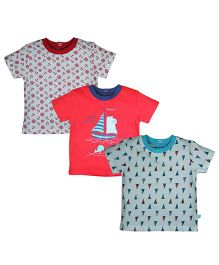 FS Mini Klub Half Sleeves T-Shirt Set of 3 - Red And Multi Color
