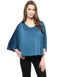 Mamacouture Cape Sleeves Top - Teal Blue
