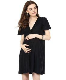Mamacouture Half Sleeves Maternity Short Knotted Dress - Black