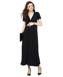 Mamacouture Half Sleeves Maternity Long Knotted Dress - Black