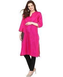Mamacouture Long Sleeves Maternity Kurta - Fushia Pink