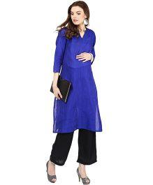 Mamacouture Long Sleeves Maternity Kurta - Royal Blue