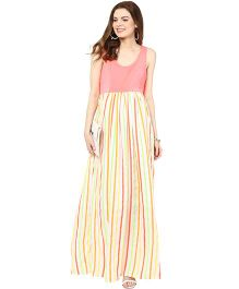 Mamacouture Sleeveless Neon Stripes Long Dress - Yellow And Peach