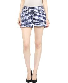 Mamacouture Maternity Shorts Houndstooth Print - Blue