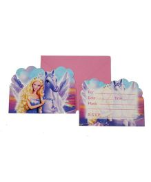 Funcart Riding Princess Theme Invitation Purple - 6 Pieces