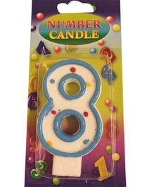 Funcart Number 8 Dotted Candle - Blue