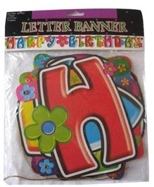 Funcart Happy Birthday With Flowers Letter Banner Multicolor - 86 Inches