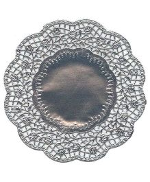 Funcart Metallic Silver Rose Doilies - Pack Of 10