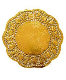 Funcart Metallic Gold Rose Doilies - Pack Of 10