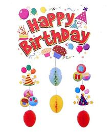 Funcart Happy Birthday Hanging Decoration With - Multicolor