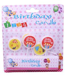 Funcart Round Smiling Birthday Candles - Pack Of 5