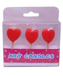 Funcart Red Hearts Toothpick Candles - Pack Of 6