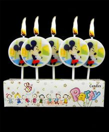 Disney Round Toothpick Mickey Mouse Candles - Pack Of 5