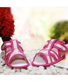 D'chica Attractive Pair Of Sandals - Cream & Fuchsia Pink