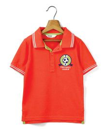 Beebay Half Sleeves Football Patch T-Shirt - Orange