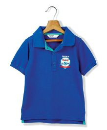 Beebay Half Sleeves Sports Club Embroidered T-Shirt - Royal Blue