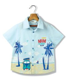 Beebay Miami Print Half Sleeves Shirt - Light Blue