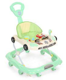 Musical Baby Walker Vehicle Design - Green & Cream