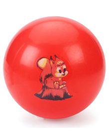 Kids Ball With Cartoon Print - Red