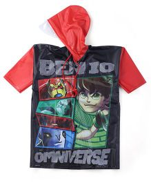 Ben 10 Printed Raincoat - Red And Black