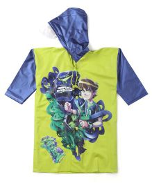 Ben 10 Printed Raincoat - Green And Navy