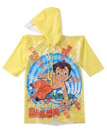 Chhota Bheem Printed Hooded Raincoat - Yellow