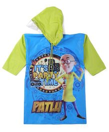 Motu Patlu Full Sleeves Hooded Raincoat Party Time Print - Blue