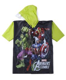 Avengers Hooded Raincoat - Black And Green