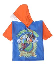 Mickey Hooded Raincoat - Dark Orange And Blue