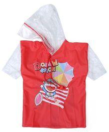 Doraemon Printed Hooded Raincoat - Red